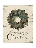 Merry Christmas Wreath Print by Jo Moulton