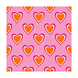 Pink and Orange Hearts Prints by Linda Woods