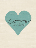 Love You More Heart Print by Jo Moulton