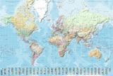 Wereldkaart - Staatkundig Nederlandstalig Affiche