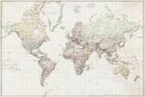 Wereldkaart - vintage Nederlandstalig Print