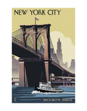 New York City - Brooklyn Bridge Print by  Lantern Press