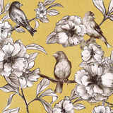 Peonies and Birds On Yellow I Posters by Lanie Loreth
