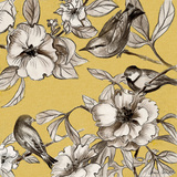 Peonies and Birds On Yellow II Prints by Lanie Loreth