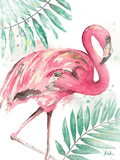 Watercolor Leaf Flamingo II Posters by Patricia Pinto