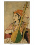 A Lady Playing the Tanpura, 1735 Prints by  Unknown