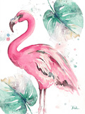 Watercolor Leaf Flamingo I Prints by Patricia Pinto