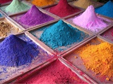 Pigments for Sale on Market Stall, Goa, India Prints by Dan Brady