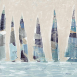 Muted Sail Boats Square I Prints by Dan Meneely
