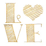Love Heart Gold Prints by  SD Graphics Studio