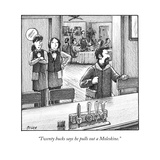 """Twenty bucks says he pulls out a Moleskine."" - New Yorker Cartoon Premium Giclee Print by Harry Bliss"