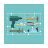 Tools Set. Plastic Model Kit. Drill and Hammer. Caliper and Pliers. Screwdriver and Brush. Planer A Prints by  popaukropa