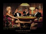 Quatre d'une sorte, jouant au poker Affiche par Chris Consani