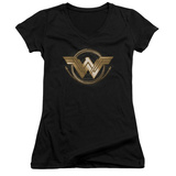 Juniors: Wonder Woman Movie - Lasso Logo V-Neck T-shirts