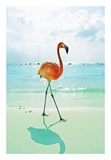 Flamingo on the Beach Poster