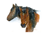 Horses in Winter, 2015 Giclee Print by John Keeling