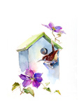 Wren with Birdhouse and Clematis, 2016 Giclee Print by John Keeling