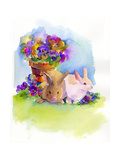 Bunnies with Pansies, 2014 Giclee Print by John Keeling