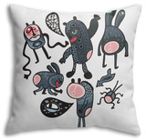 Crazy Cartoon Monsters Throw Pillow Throw Pillow by  panova