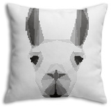 Abstract Monochrome Llama Portrait of Circles Throw Pillow Throw Pillow by  vanillamilk