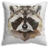 Raccoon Throw Pillow Throw Pillow by Lora Kroll