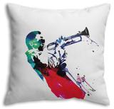 Miles Watercolor Throw Pillow Throw Pillow by Lora Feldman