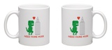 Need More Hugs T-Rex and Skyscraper Mug Mug by  dmitriylo