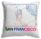 San Francisco Watercolor Street Map Throw Pillow Throw Pillow by  NaxArt
