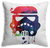 Starship Trooper Watercolor Cartoon Throw Pillow Throw Pillow by Lora Feldman
