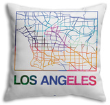 Los Angeles Watercolor Street Map Throw Pillow Throw Pillow by  NaxArt