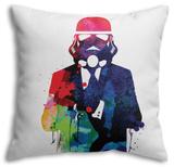 Trooper in Suit Watercolor Throw Pillow Throw Pillow by Lora Feldman
