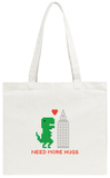 Need More Hugs T-Rex and Skyscraper Tote Bag Tote Bag by  dmitriylo