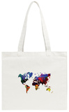 World Watercolor Map 12 Tote Bag Tote Bag by  NaxArt