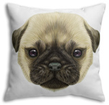 Illustrated Portrait of Pug Puppy Throw Pillow Throw Pillow by  ant_art