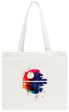 Death Star Watercolor Cartoon Tote Bag Tote Bag by Lora Feldman