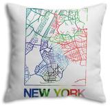 New York Watercolor Street Map Throw Pillow Throw Pillow by  NaxArt