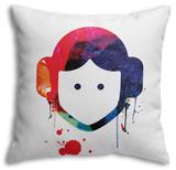 Leia Cartoon Watercolor Throw Pillow Throw Pillow by Lora Feldman