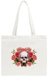 Watercolor Human Skull with Guns and Roses Tote Bag Tote Bag by  tanycya