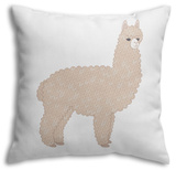 Cute Knitted Alpaca Throw Pillow Throw Pillow by  slowcentury