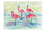 Sunset Flamingoes II Posters by Beverly Dyer