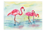 Sunset Flamingoes I Prints by Beverly Dyer