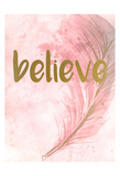 Pink Feathered 1 Posters by Kimberly Allen