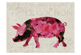 Flower Farm Pig Prints by Melody Hogan