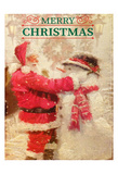 Santa and Snowman Print by Kimberly Allen