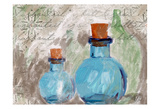 Blue Glass Bottles Poster by Sarah Butcher