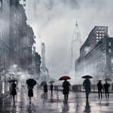 New York Red Umbrella Poster by Robert Canady