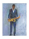 Sax in a Blue Suit Reproduction giclée Premium par Samuel Dixon