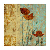 Poppies and Damask I Print by Louise Montillio