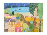 Village with Train Giclee Print by Nathaniel Mather