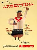 """Argentina"" Vintage Travel Poster, International Airways Prints by  Piddix"